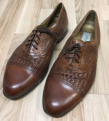 MEZLAN MARTINIQUE men's Brown Woven  Cap toe Oxford Shoes 10.5 M Made in Spain