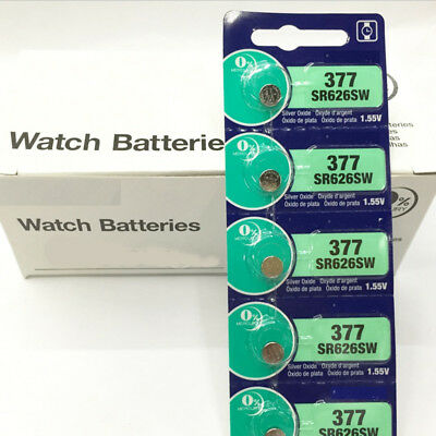 5pcs/Set 1.55V Silver Oxide Button-Type Watch Batteries For Sony 377 SR626SW HOT
