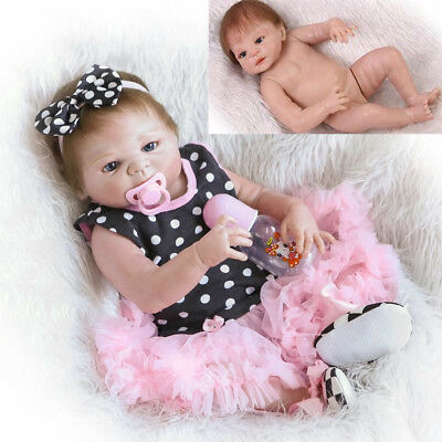 23'' Handmade Full Body Silicone Reborn Baby Toy Girl Lovely Dolls Newborn Vinyl