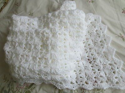 "New Hand Crocheted White Shell Edging Baby Shawl Suitable Christening 44"" Square"