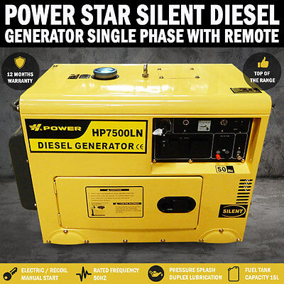 NEW Power Star 8Kva/6Kva Rated Diesel Silent Generator Single Phase, W Remote