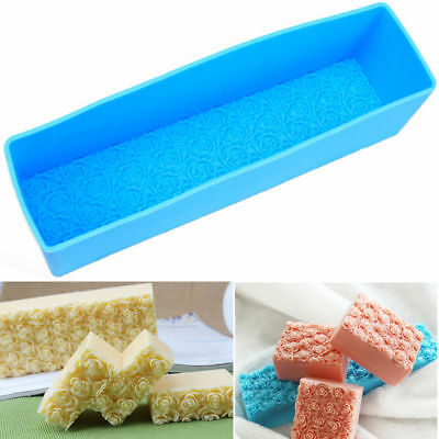 Rose Silicone Soap Mold Rectangle Toast Loaf Cake Baking Chocolate Candle Mould
