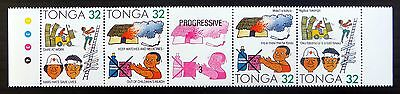 TONGA 1991 Accident Prevention Gutter Strip of 4 Cat £23 SEE BELOW U/M FP8375