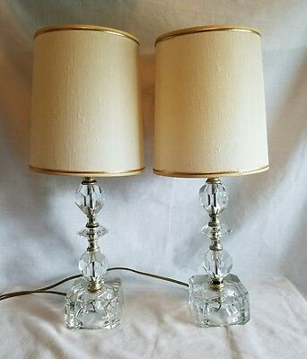 VINTAGE MATCHING PAIR Glass Bedroom Boudoir Bedside Table Lamps