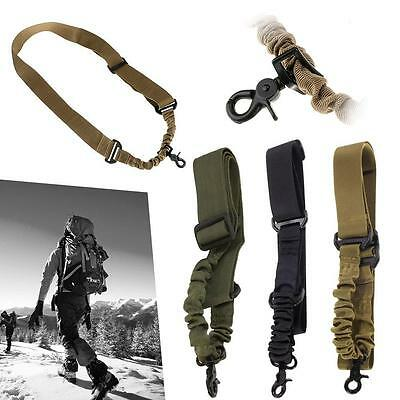 Adjustable Tactical Gun Rifle Sling 1 One Single Point Strap With Metal Hook BN