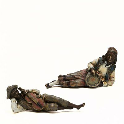 Pair Franz Bergman Cold Painted Gypsy Musicians 19Th C.