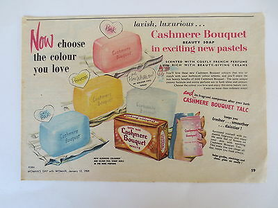 Vintage print Australian advertising original 1950s ad CASHMERE BOUQUET SOAP