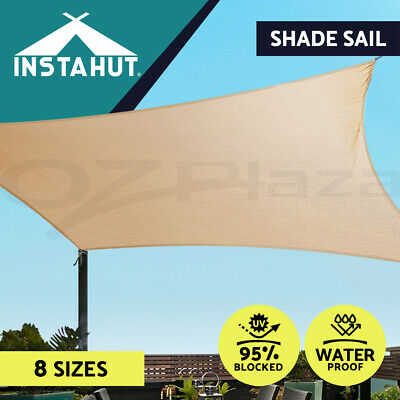 Instahut Waterproof Shade Sail Cloth Rectangle Triangle Square Sand Sun Canopy