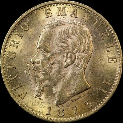 Italy 1873 M BN Gold 20 Lire KM# 10.3 about Unc
