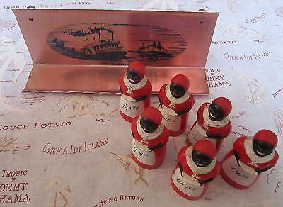 RARE 1949 F&F Mold AUNT JEMIMA Spice Set with COPPER RACK Mississippi steamboat