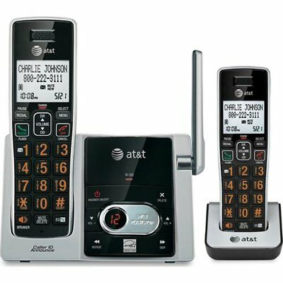 AT&T 2-Handset Cordless Phone with Answering System - Black (CL82213)