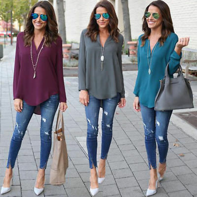 Women Loose Long Sleeve V Neck Chiffon Casual Solid Blouse Shirt Tops Blouse