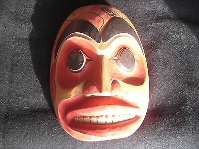 Vintage Northwest Coast Ceremonial Mask, Hand Carved & Painted   #chi F-379