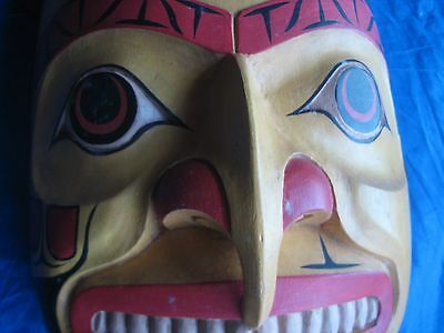Large Northwest Coast Ceremonial Mask .... Hand Carved & Painted W/hair, #wy-432
