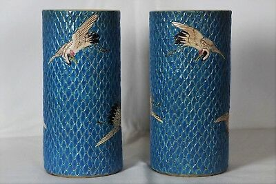 Large Pair of Japanese Sleeve Vases with Storks and Sky Blue Net Effect Ground
