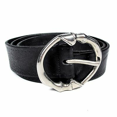 Gucci Belt - Mens Size 33 - 95 - Black Leather Gg Wide Buckle Silver