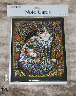 LEANIN TREE The Jeweled Cat Lewis T. Johnson-Mosaic~Pack of 8 Notecards #35983 ~