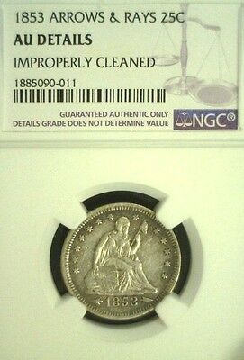 1853 Arrows & Rays Seated Liberty Silver Quarter Ngc Au Details  (2327Nam)