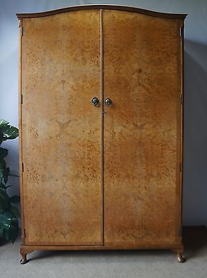 French Antique Queen Anne Style Burr Walnut Dome Top Double Wardrobe Armoire