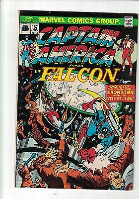 Marvel comic Captain America & Falcon #167 Nov 1973 vs Yellow Claw