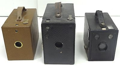 Lot of Three Old Kodak Brownie Cameras in Various Sizes and Working Conditions