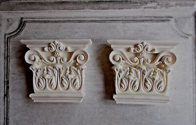 PAIR OF ORNATE WALL CORBELS white plaster FURNITURE FIRE PLACE SHELF SUPPORTS