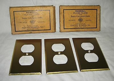 (3) HUBBELL Vintage Brass Duplex Outlet Plug Plate COVERS electrical