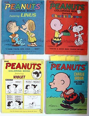 1971 LOT 4 Peanuts SNOOPY COLORING BOOKS - by SAALFIELD - VIOLET LINUS C BROWN M