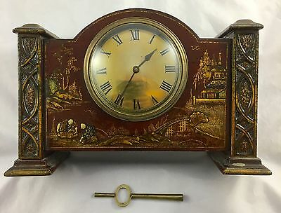 Red Lacquered Japanned French Mantelpiece Clock