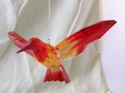 Hummingbird Ganz Crystal Expressions Acrylic Sun Catcher Red Orange Free Ship
