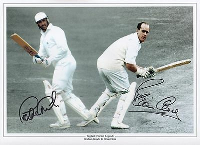 "GRAHAM GOOCH &  BRIAN CLOSE-ENGLAND TEST CRICKET-SIGNED 12x16"" PHOTO-AFTAL/UACC"