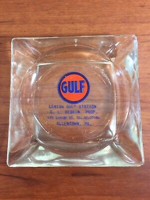 Vintage Gulf Gas & Oil Advertising Collectible Glass Ashtray Allentown, PA.