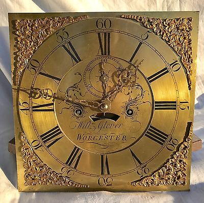 12 by12  8 Day Grandfather Clock brass Dial And Movement Will Glover Worcester