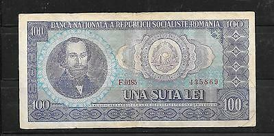 ROMANIA #97a 1966 VG CIRC OLD VINTAGE 100 LEI BANKNOTE BILL NOTE PAPER