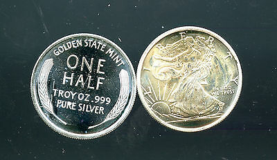 .999 Fine Silver 1/2 Troy Oz Walking Liberty Gsm Vintage By Golden State Mint