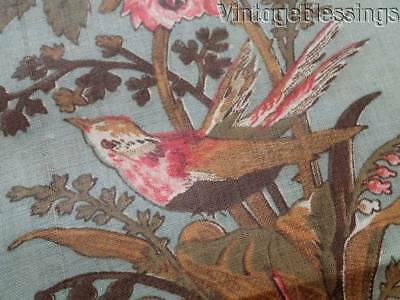 """Beautiful Antique 19th century Birds Floral  Fabric 41"""" Broderie Perse"""
