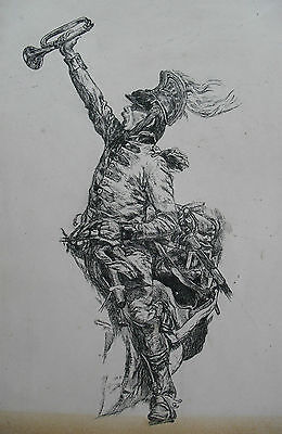 1888, Mounted Soldier / Bugler, Original Ink Drawing, Indistinct Signature