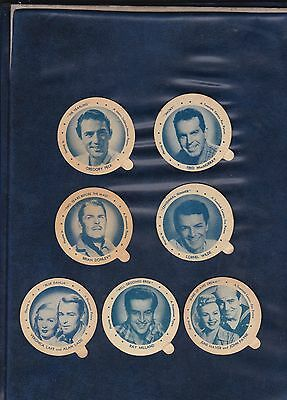 1946 DIXIE LID MOVIE STAR LOT   7 Different Lids   LOW OPENING BID   AUTHENTIC