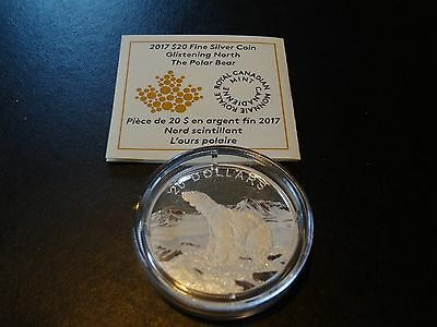 2017 1 oz Silver Proof $20 Coin Glistening North: The Polar Bear