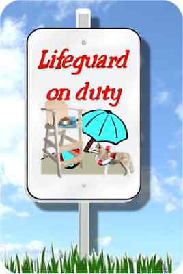 "Siberian Husky lifeguard on duty sign novelty 8""x12"" pool yard dogmetal"