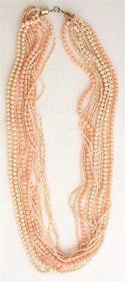 Vintage Gold Tone 12 Strand Pink Faux Coral Liquid Bead Pearlescent Necklace FP