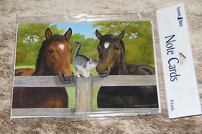 LEANIN TREE Horses at the Fence with Friendly Kitten #35537 ~ 8 Notecards ~