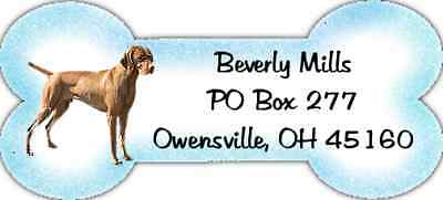 Bone Shaped Vizsla return address labels WATERPROOF laser print