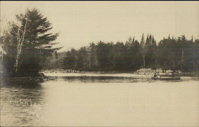 Machias ME River Scene c1910 Real Photo Postcard