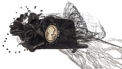 "Vintage Black, Cameo, Lace Mini Hat Fascinator 4"" Hair Clip"
