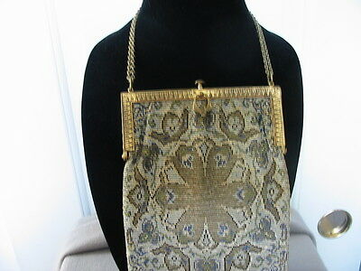 Antique Micro Metal Bead Purse Made In France - Beaded Fringe -Floral Pattern