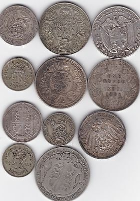11 wold silver coins, Panama, India,GB, Germany 1892-1940,