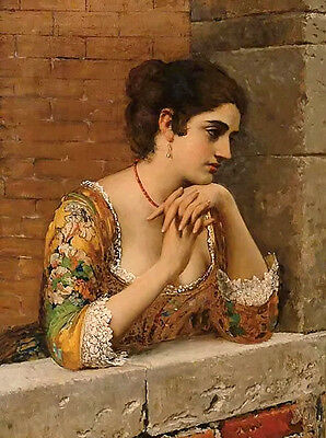 Hand painted Oil painting venetian beauty on balcony nice young woman portrait