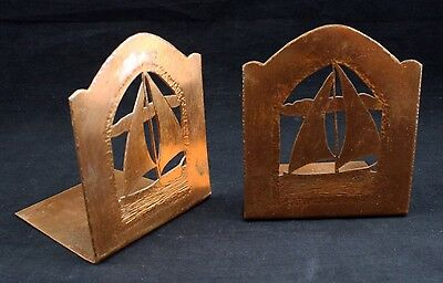 Vintage Copper Boat Ship Nautical Bookends