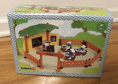 1999 SMURF School Playset MIB 4 PVC Figures Schule Foreign Box 90's toys